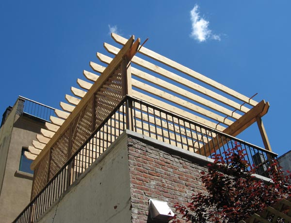 cedar arbor with custom made privacy lattice...park slope, brooklyn