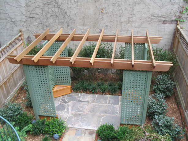 CEDAR ARBOR WITH CUSTOM  LATTICE PANELS & 4 TRIANGULAR CEDAR PLANTER BOXES...FORT GREENE, BROOKLYN